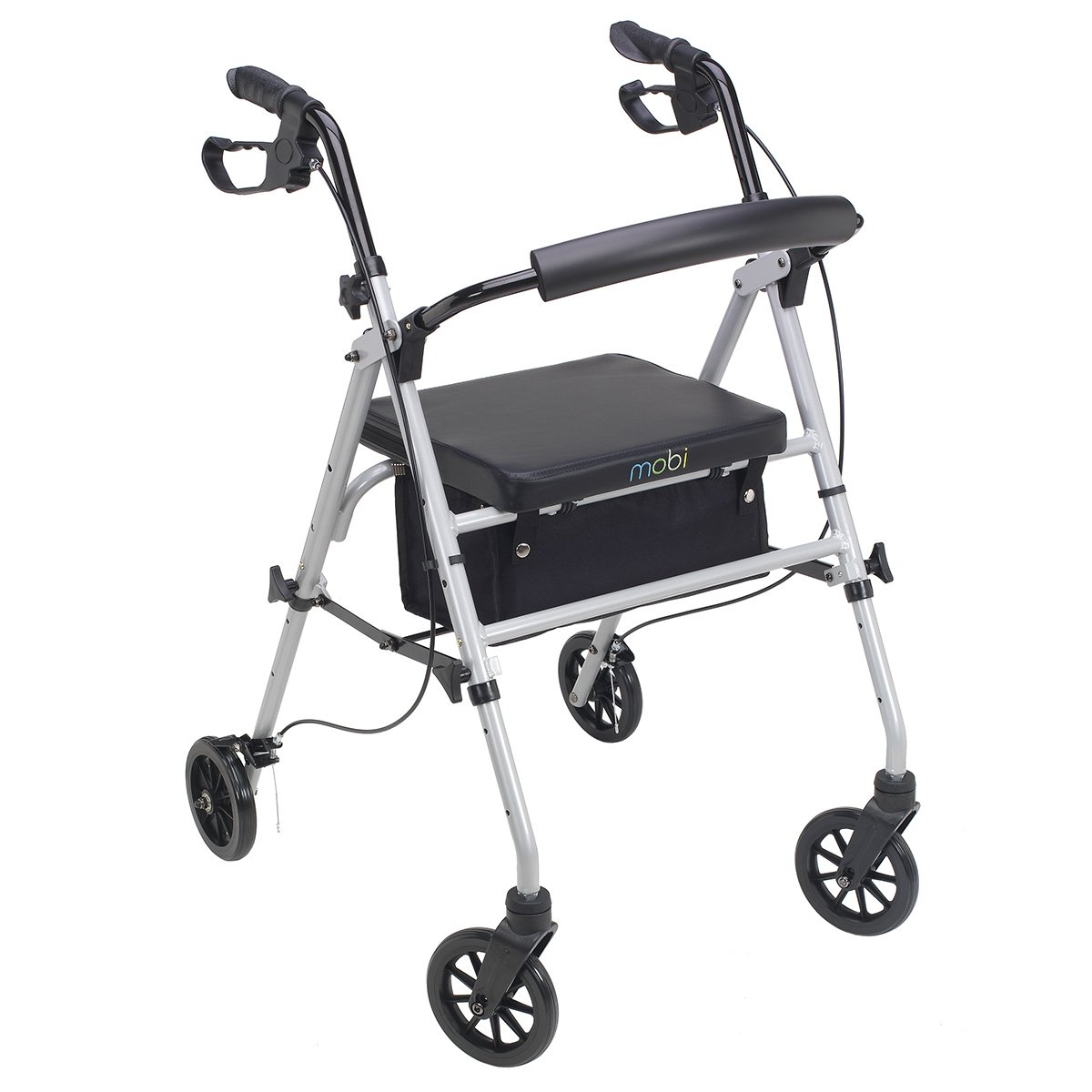 Juvo Folding Standard Rollator with 6'' Wheels and Height Adjustable Handles and Seat, 300 lb. Capacity, Silver (PR104)