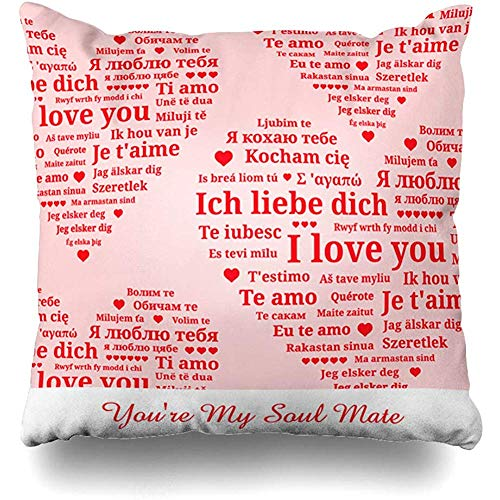 Throw Pillow Cover Holiday Red Different Youre My Soul Mate Love Dutch Holidays French Languages Spanish You Albanian Square Cushion Sofa Pillowcase 18 x 18 Inches Home Decor Pillow Case