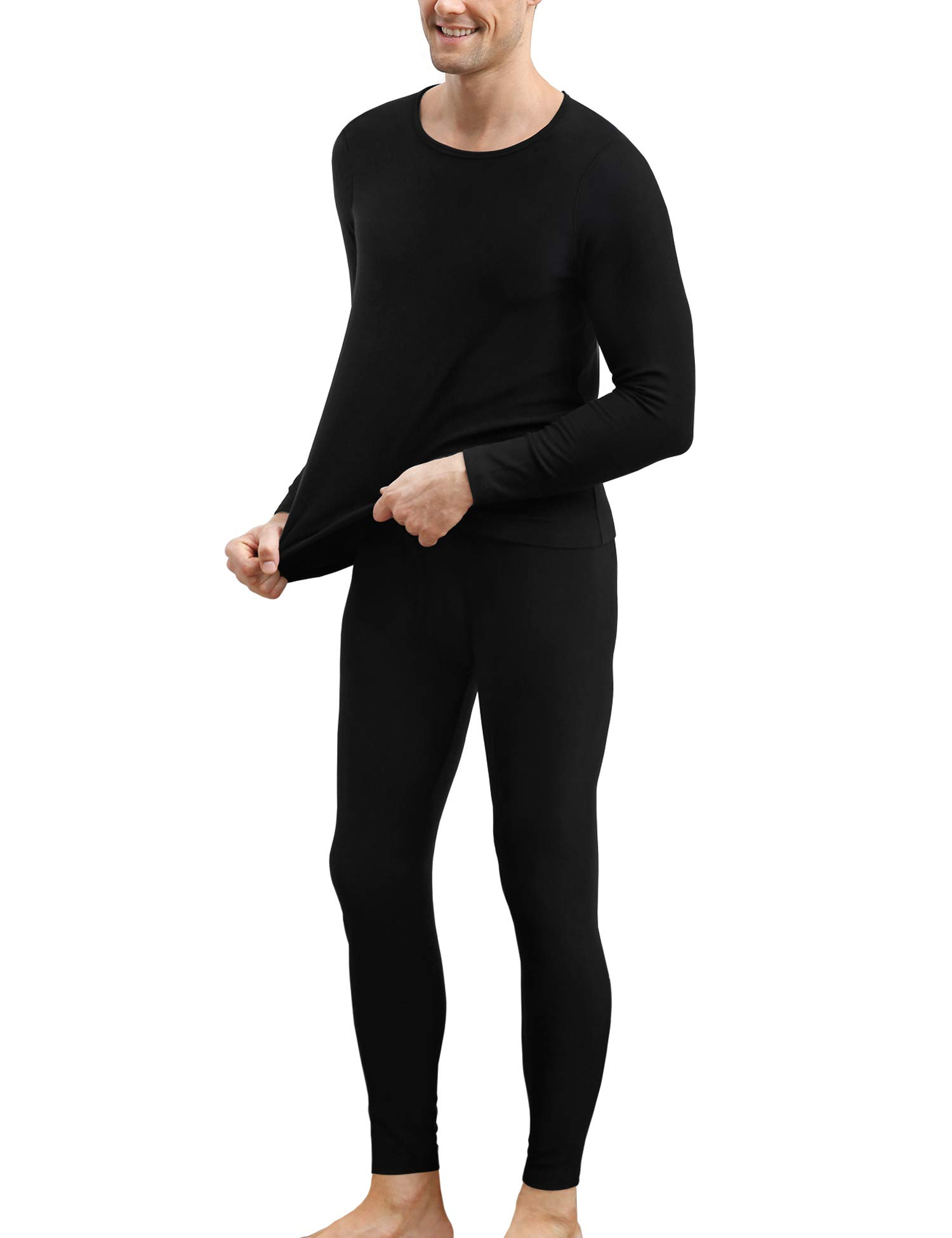 COLORFULLEAF Mens Cotton Thermal Underwear Set Heavyweight Long Johns Fleece Lined (Black, M) by COLORFULLEAF