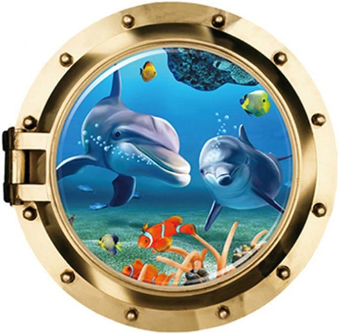 VORCOOL Pegatinas de Pared Peces 3D Ventana Vista Mundo Submarino Extra/íble Arte de la Pared Calcoman/ías
