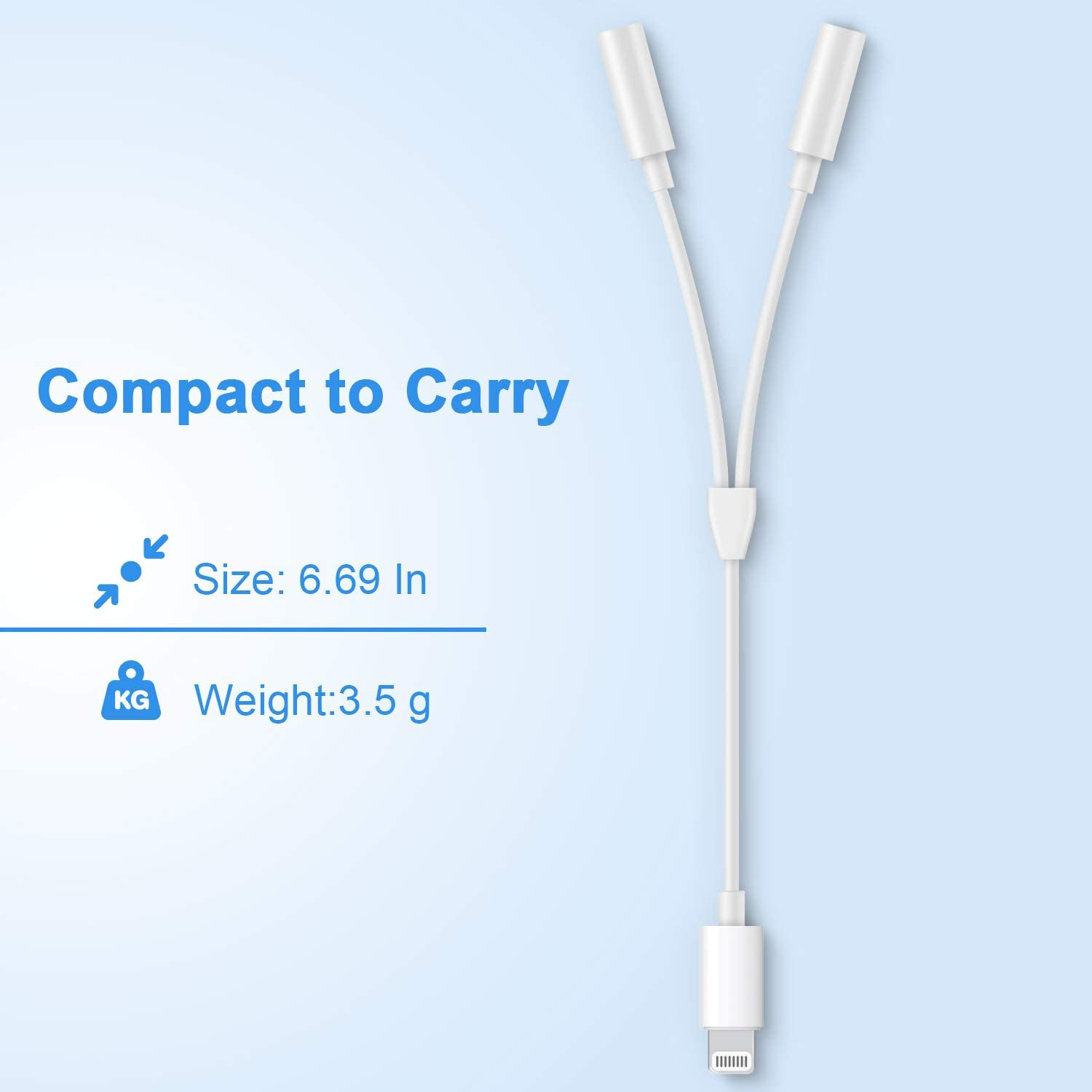 Lightnįng to 3.5 mm Headphone Jack Adapter Charger for iPhone 2 in 1 Converter Splitter Compatible with iPhone 7//7 Plus// 8 //8Plus//X//iOS 11//12 Dual Headphone Splitter Audio