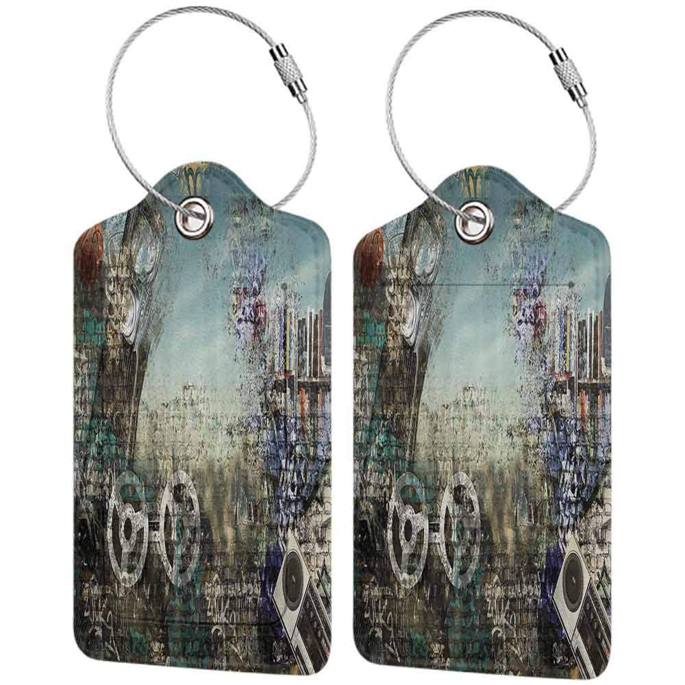 Decorative luggage tag Music Background in the Style of Hip Hop and Grunge Illustration Tape and Ball Print Suitable for travel Brown Turquoise W2.7 x L4.6