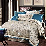 American style satin embroidery 10 Sets bedding set100% Extra-Long staple cotton bedding collection quilt cover bed sheet wedding festive decoration-A Queen2