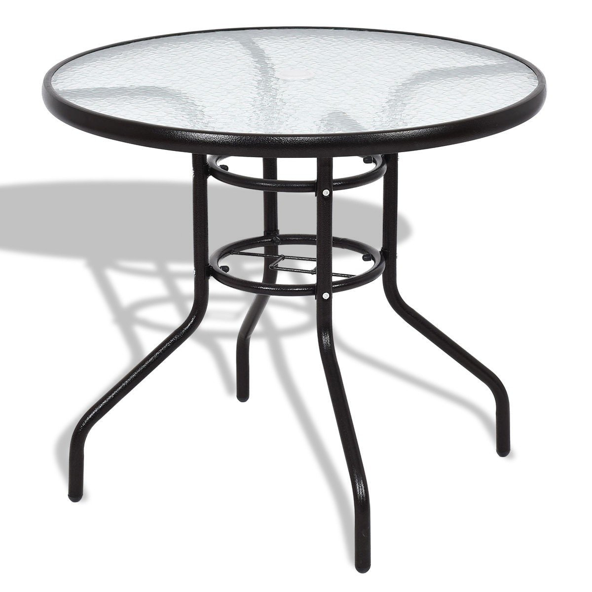 Custpromo 31 1/2'' Outdoor Dining Patio Table Tempered Glass Stand Round Table Deck Garden Home Furniture Table (Round Table 1)