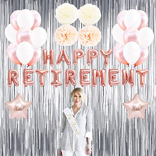 Retirement Party Decorations for Women, Supplies Includes Im Retired Sash, Happy Retirement Letter Balloon, Foil Curtain, Pom Poms Paper Flowers and Rose Gold Balloons ()