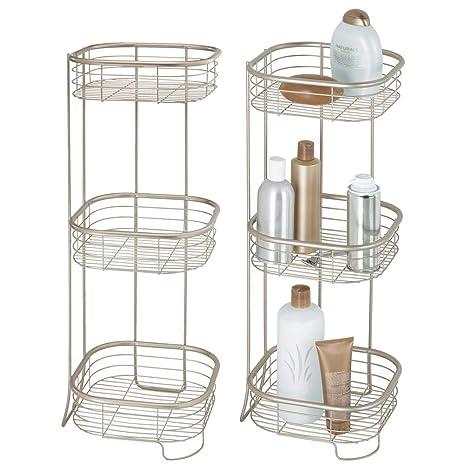 mDesign Juego de 2 estanterías de baño de pie en metal resistente – Muebles auxiliares de