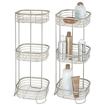 Badezimmer Regal Metall | Mdesign 2er Set Freistehendes Badregal Aus Metall Rostbestandiges