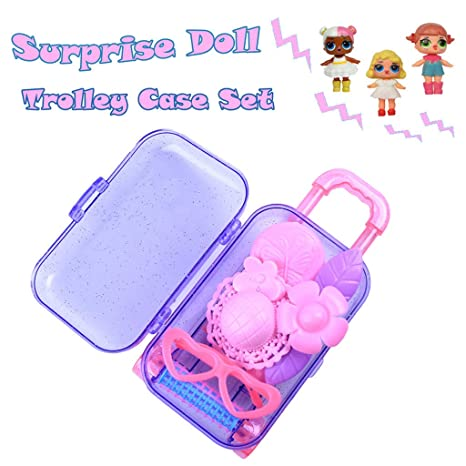 Amazon.com: CMrtew Fashion Accessories Trolley Box Claear Suitcase Set for Surprise Dolls Box Storage Bag Decoration Mini Trolley Case (Purple, ...