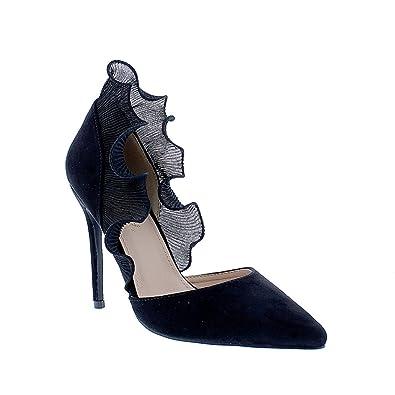 8f02ceb9672 Liliana Pointy Toe Women High Heels Triple Strap Single Sole Gisele7(Black  6.5)
