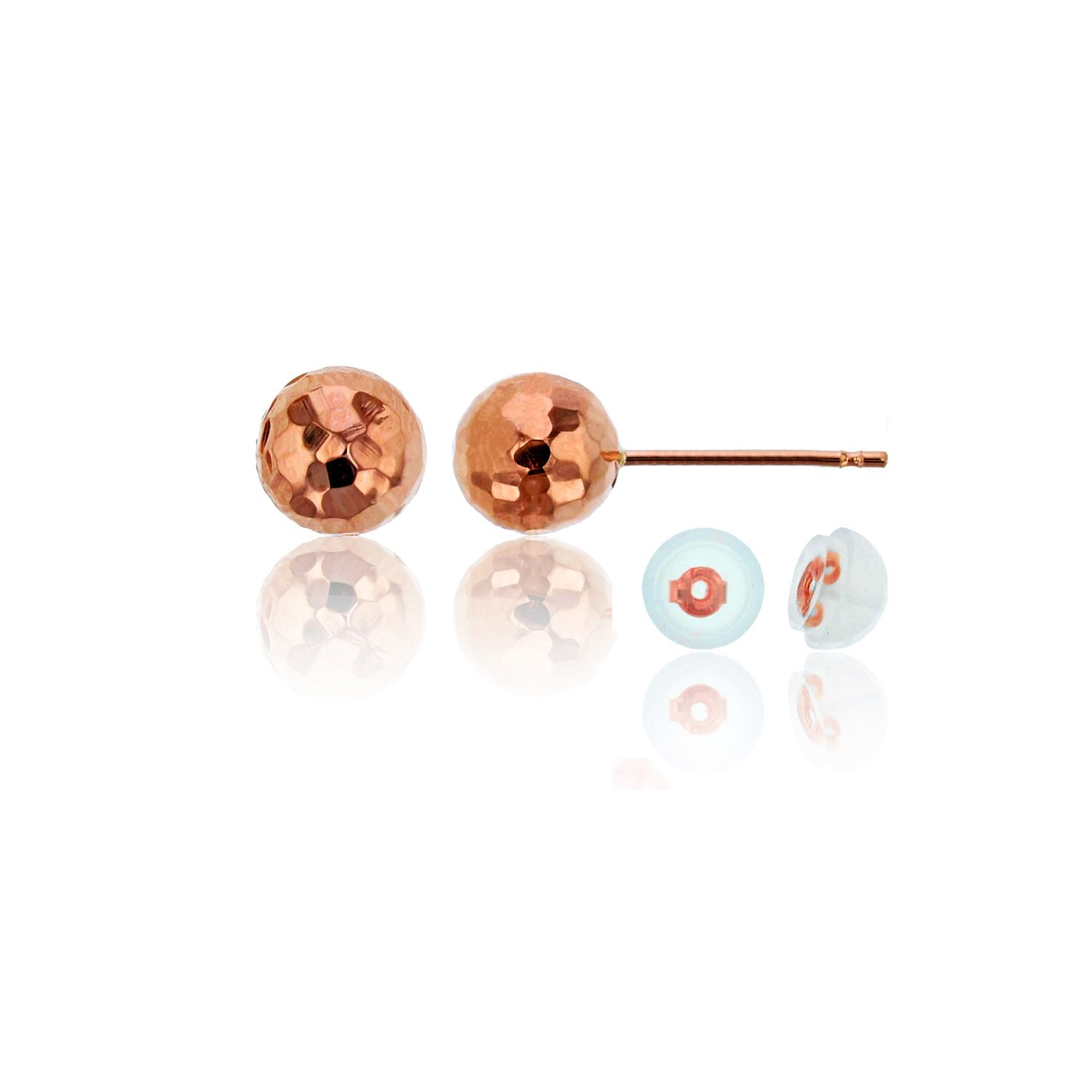 14K Gold 8mm DC Ball Stud Earring /& 14K Silicone Back