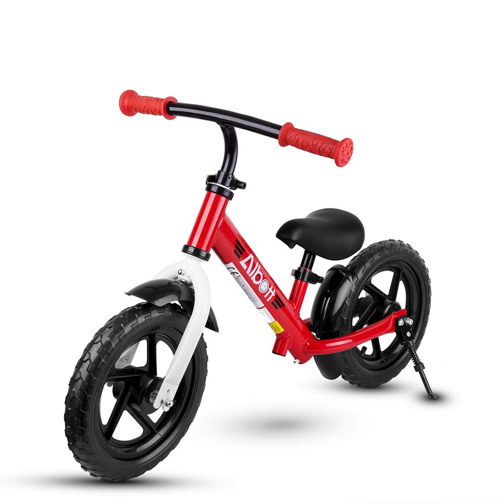 Albott Kids Balance Bike - 12'' No Pedal Sport Bicycle for 1.5 to 6 Years Children Toddlers with Adjustable Handlebar and Seat Beginner Walking Bicycle with Support Foot & Fenders for Boys and Girls