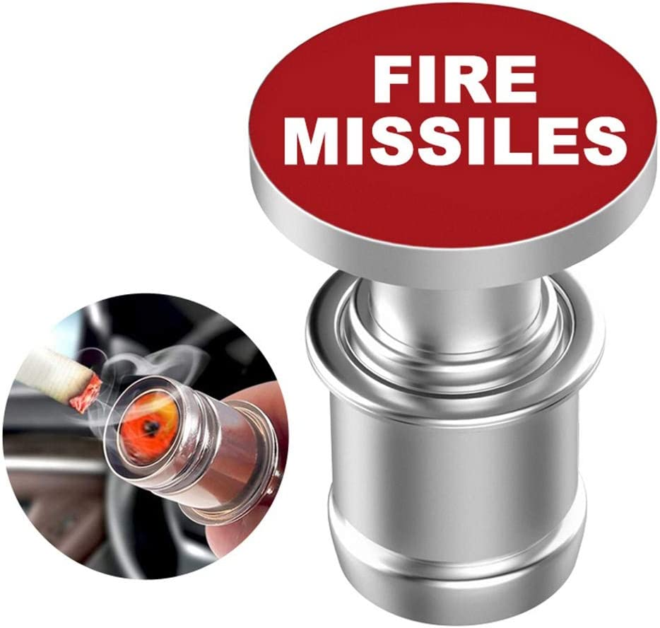 Lecheng Auto Zigarettenanz/ünder Eject Fire Missile Button Ersatz 12V Zubeh/ör Push Passt die meisten Kfz FIRE Missile