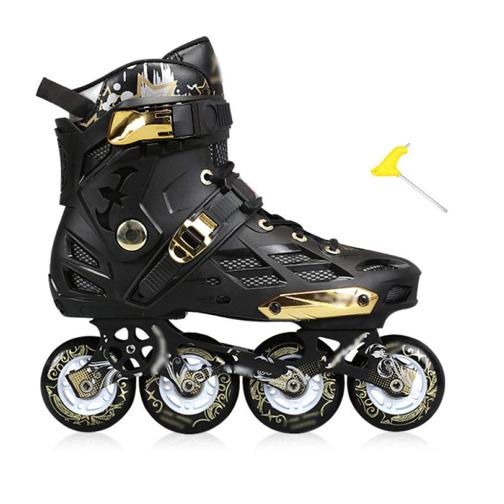 ZYH ローラースケートインラインスケートスケート大人のスケート大人の男性と女性のローラースケート単一行フラットシューズインライン (Color : ブラック, サイズ : 41)   B07R9WZ9DK