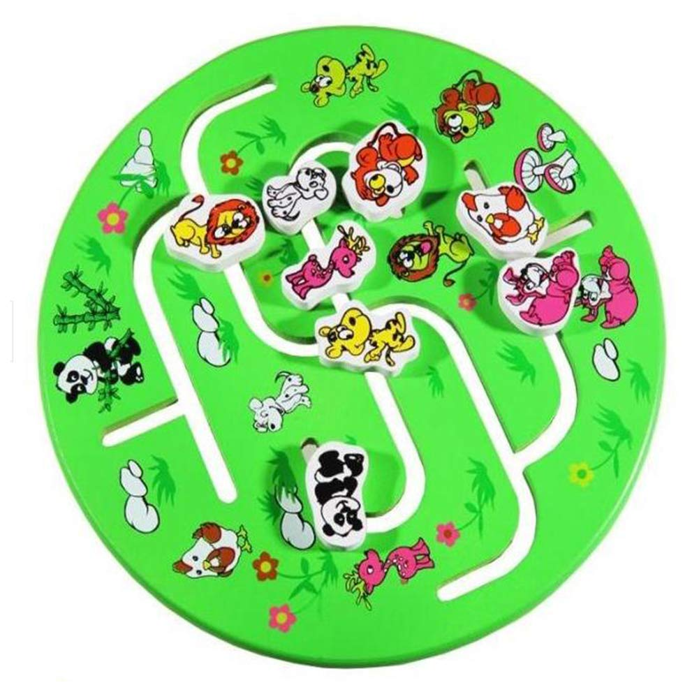 JIAAE Puzzle Cartoon Animal Maze Children Early Education Wooden Labyrinth Toy