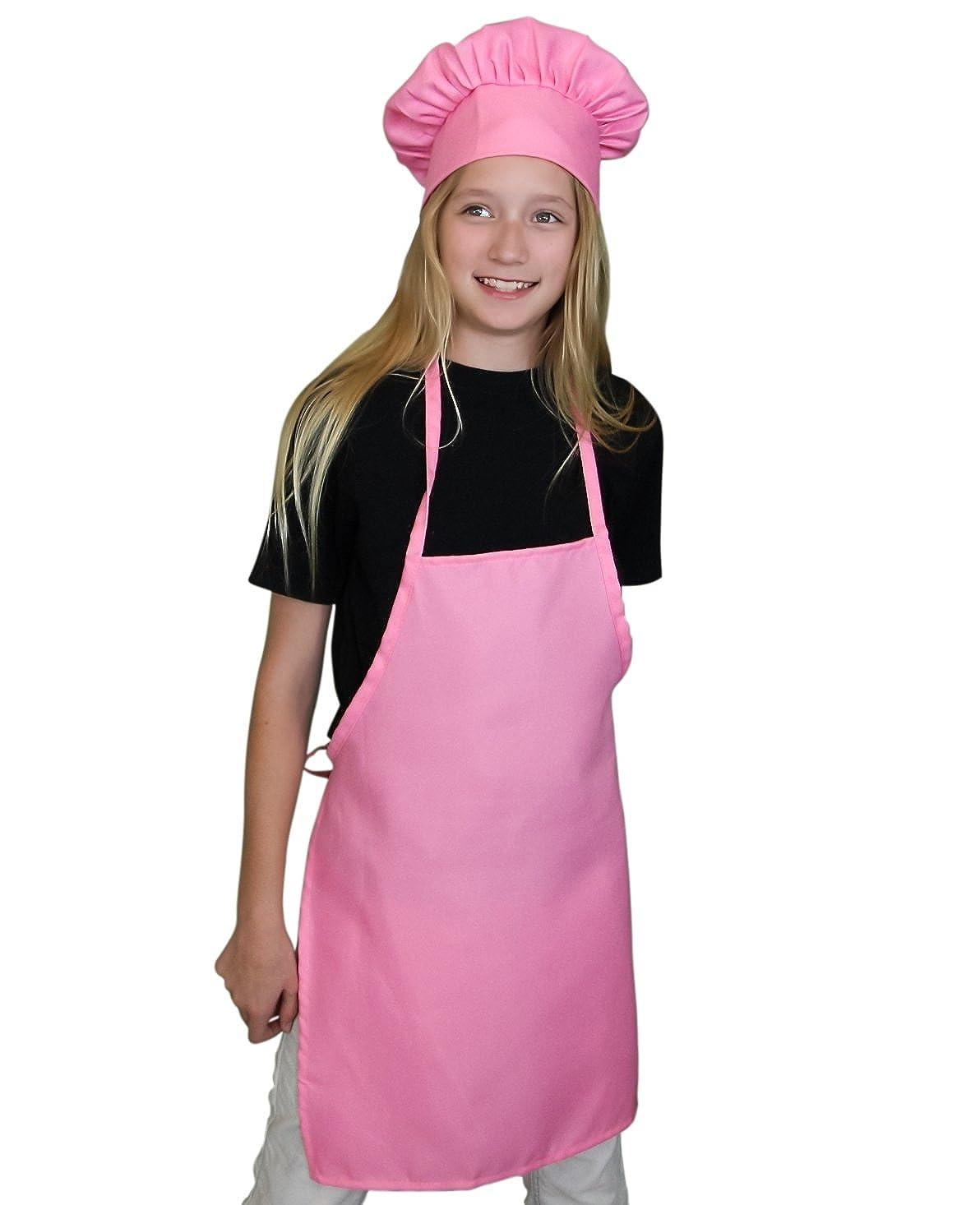Chefocity Kids Apron and Kids Chef Hat Set. Adjustable Hat. Fits Childs Size Medium 6-12 SYNCHKG102361