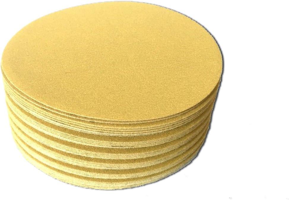 6 Inch Gold Hook and Loop Grip Sanding Discs 50 Pack, 320 Grit
