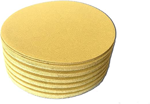 6 Inch Gold Hook and Loop Grip Sanding Discs 100 Pack, 100 Grit