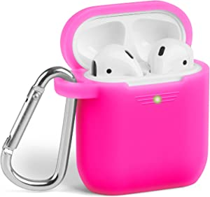 AirPods Case, GMYLE Silicone Protective Shockproof Case Cover Skins with Keychain Compatible with Apple AirPod 2 and 1 Charging Case, Rose Pink [Front LED Visible]