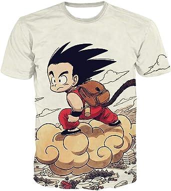 Camisetas,Camiseta Dragon Ball Impresión 3D Camisetas de Anime para Hombre y para Mujer Camiseta Goku Son 5XL Blanca: Amazon.es: Ropa y accesorios