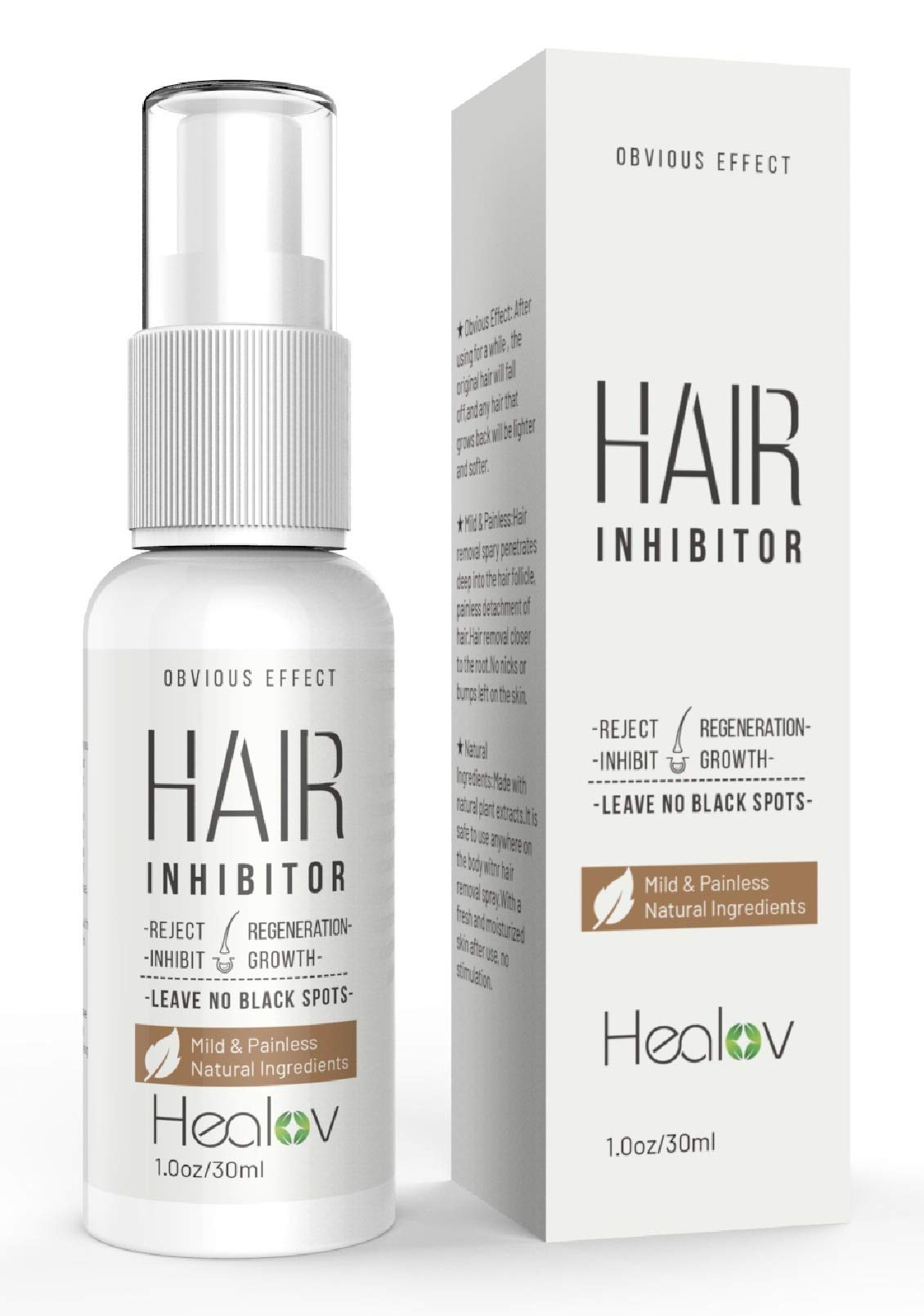 Natural Stop Grow Hair Growth Inhibitor Spray for Face, Body, Chin, Arms, Underarms, Bikini Zone Area, Bare Legs – Painless No Pain After Hair Removal Growth Stopper for Women & Men, 1oz/30ml