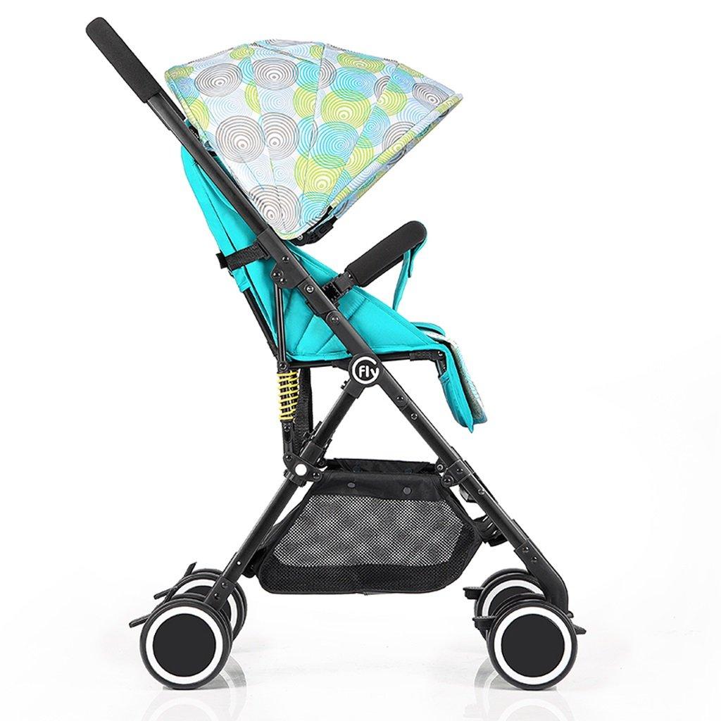 赤ちゃんベビーカー高風景超軽量ポータブルリクライニングベビー折りたたみカート、グリーン/ピンク/ブルー/ヒョウプリント、68 * 48 * 105センチメートル ( Color : Green ) B07BVZ8N89