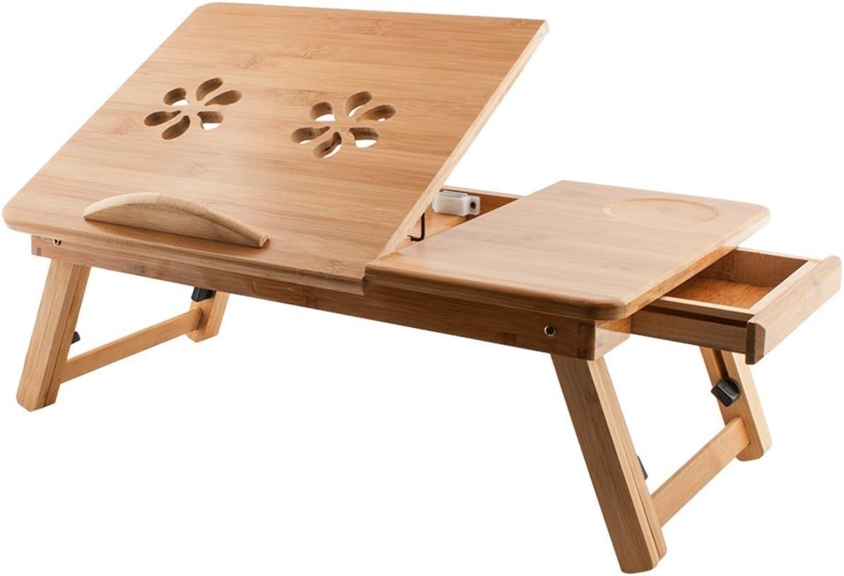 Pritech - Mesa de bambú de altura ajustable, portátil y plegable ...