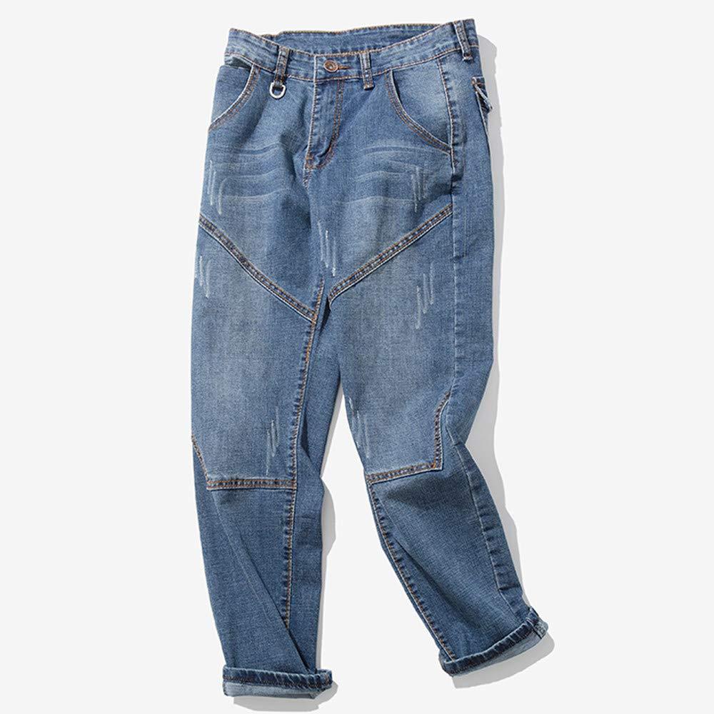 Pants for Men Clearance Sale Pervobs Mens Vintage Autumn Casual Zipper Wash Pockets Work Jeans Pants Trousers