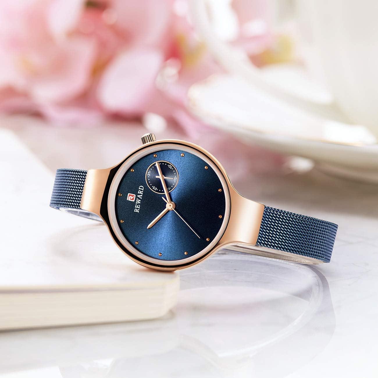 Montre Quartz Imperméable Montres pour Femmes Acier Inoxydable Bracelet Diamant en Cristal Blue