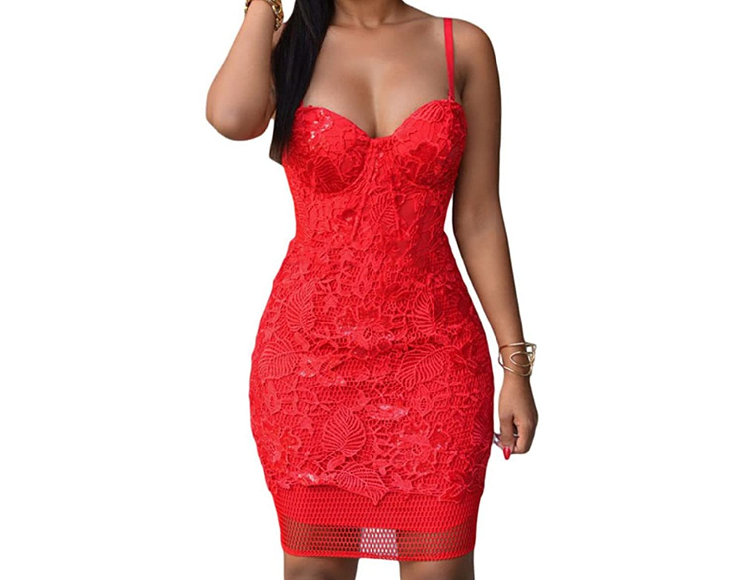 Bling-Bling Womens Red Lace Padded Bridal Party Dress