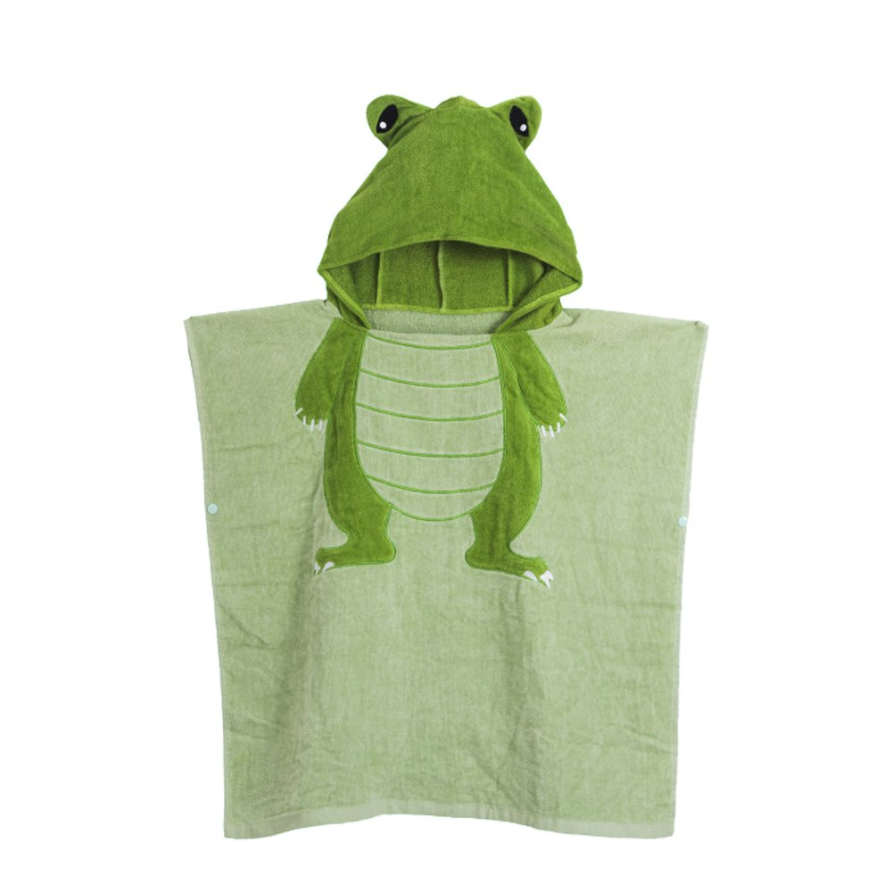 Misslight Kids Hooded Poncho Beach Pool Animal Bath Towel for Boys and Girls (Green Frog, 60120cm)