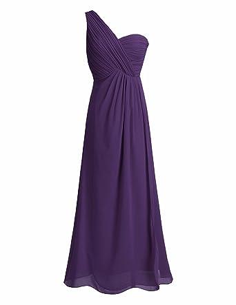 daae6b9dcec7a FEESHOW Women Ladies Bridesmaid Dress Chiffon One-Shoulder Split Slit Long Evening  Prom Gown Dark