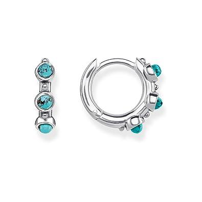 cc3d4d72a THOMAS SABO Women hoop earrings turquoise 925 Sterling Silver, Blackened  CR614-878-17: Amazon.co.uk: Jewellery