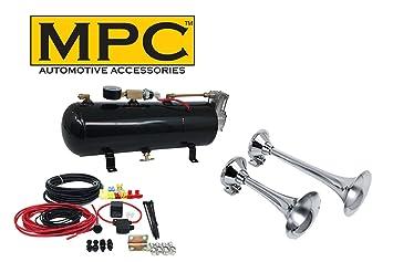 "MPC Tren Air Horn Kit; Dos Trompetas de Tamaño 13 ""y 17"""