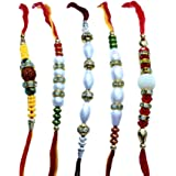 Rakhi By Lilone Multicolor Mauli Fabric Set Of 5 Rakhis With Roli Chawal For Brother(Men/Boys)