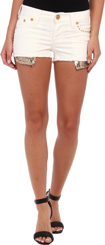 Affliction Women's Vikki Silent White Shorts 25 X 2.5