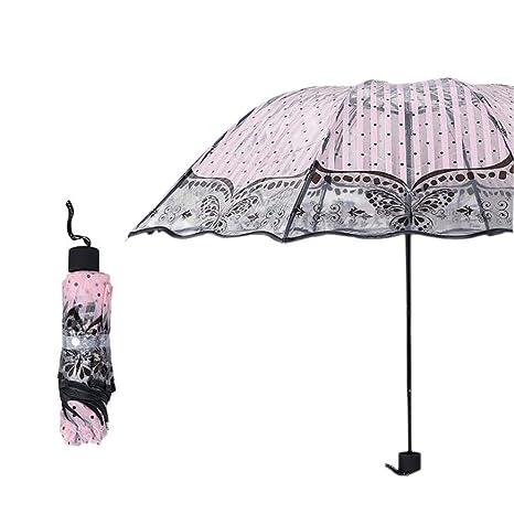 Paraguas Transparente Especial Gran Paraguas Flores Creativas Paraguas para Coche para Mujeres Para Niños Estudiantes luz