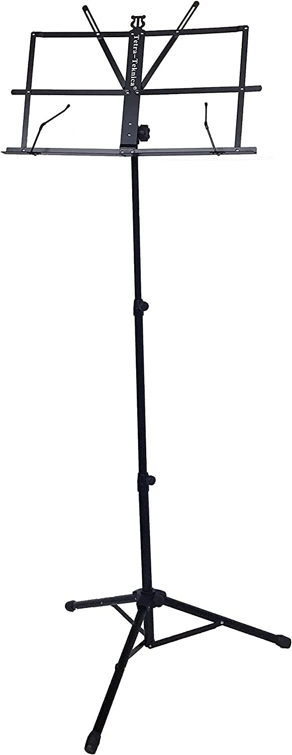Tetra-Teknica Ems-04 Portable Folding Sheet Music Stand mit Carry Bag, Color Black