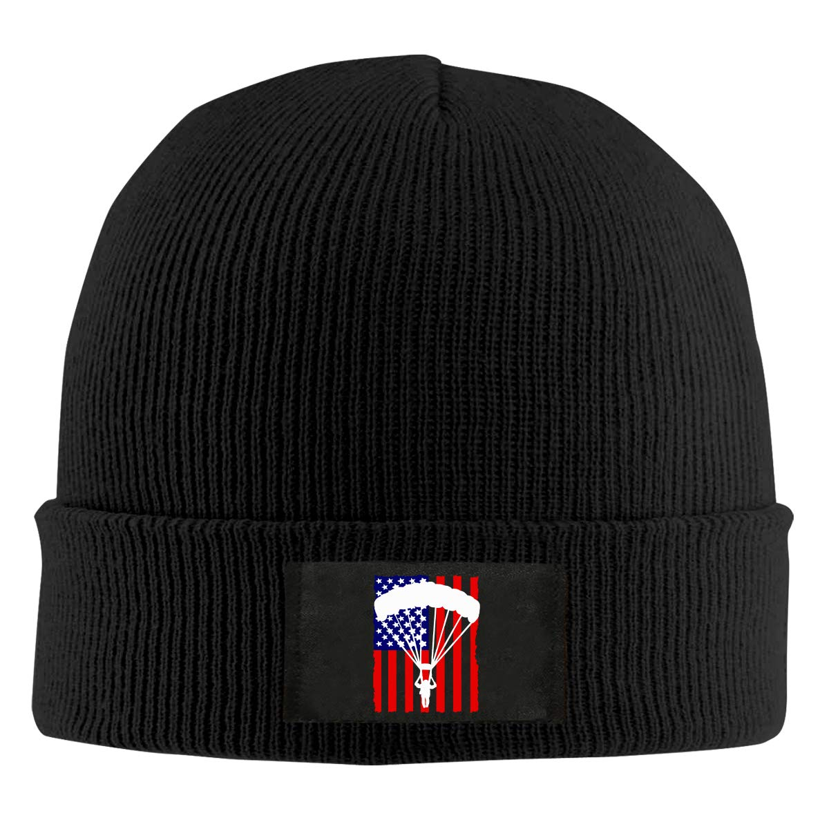 American Parachuting Skydiving USA Flag Women and Men Knitted Hat Comfortable Pure Color Hat