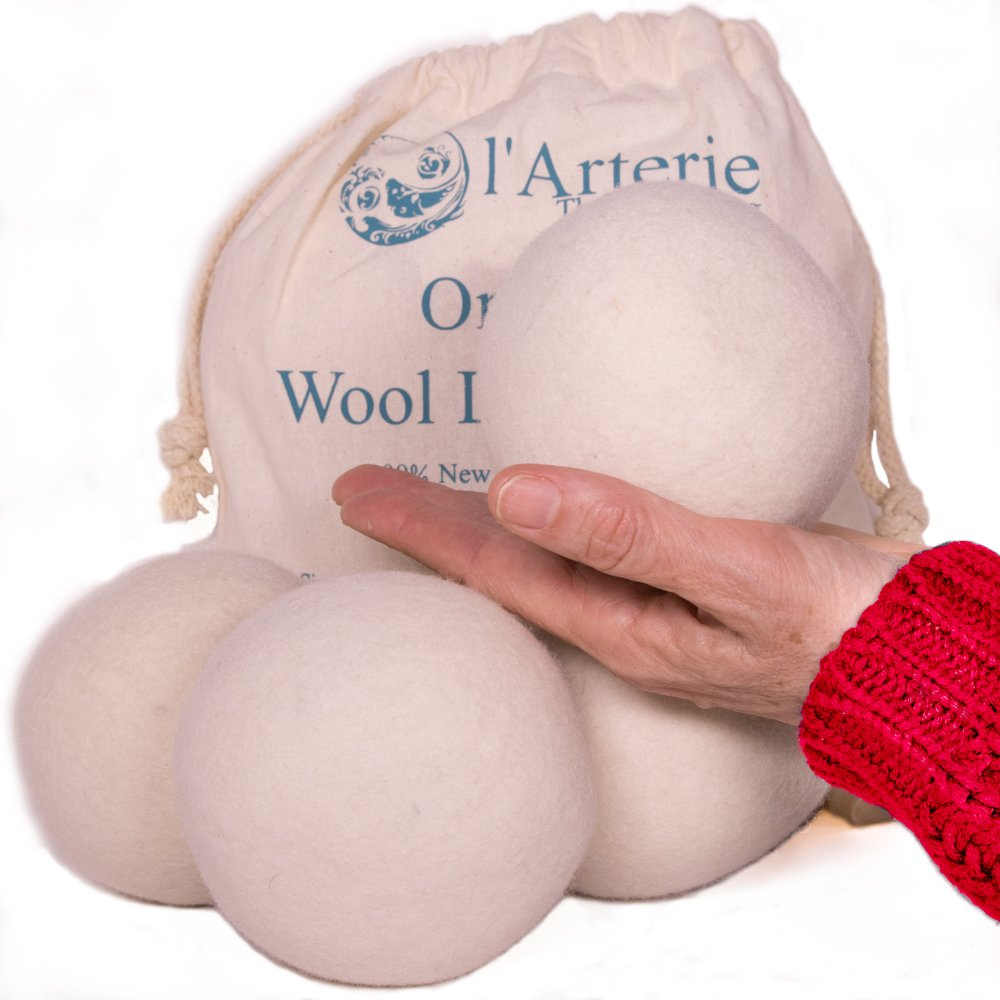 l'Arterie Wool Dryer Balls HUMONGOUS 4 diameter for Laundry. Natural Fabric Softener for Sensitive Skin, Allergy & Babies. 4-pack, Premium,Rreusable, Chemical Free. Reduces Drying Time. l'Arterie
