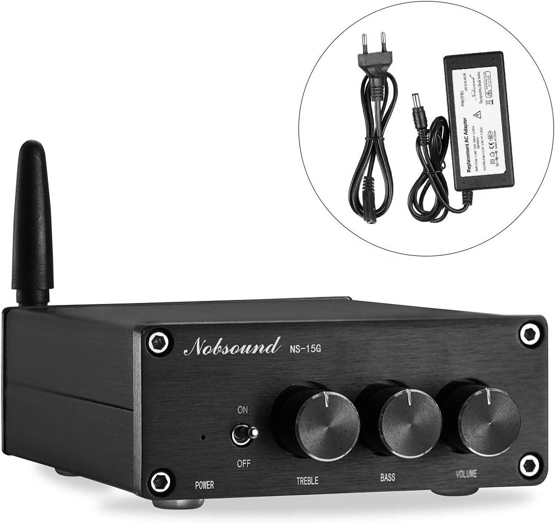 Nobsound Mini TPA3116 - Amplificador digital Hi-Fi estéreo, 200 W (100 W × 2), Bluetooth 4.2, clase D, con fuente de alimentación