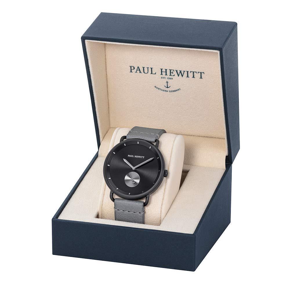 PAUL HEWITT armbandsur män rostfritt stål breakwater black sunray – herr klocka med svart siffertavla Svart pistol metall   läder ljusgrå