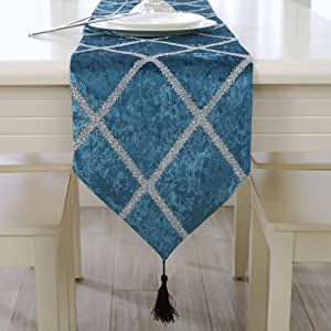 MXJJSPD Table Runner,Blue,Rhombic Striped Bright Silk Pattern Chirstmas Party Wedding Decor Heat-Resistant Table Runner for Coffee Table Dining Table Nordic Home Decor,28210Cm