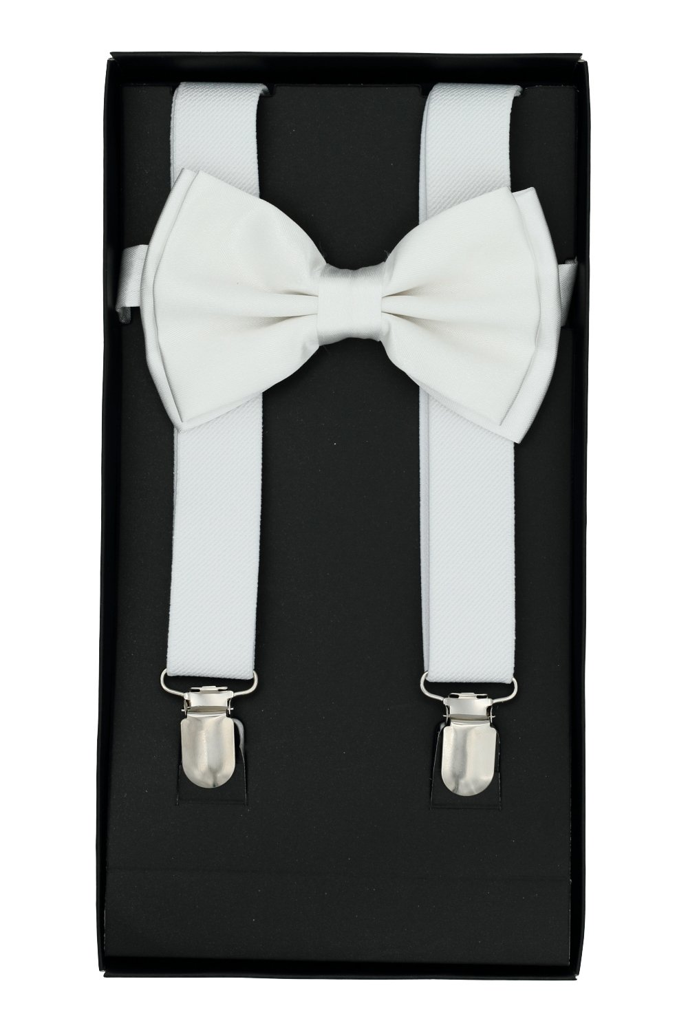 Buha Suspenders for Men, 2 in 1 Suspenders and Bow Tie, Mens Outfits Casual Suspender and Bow Tie Special Edition (White)