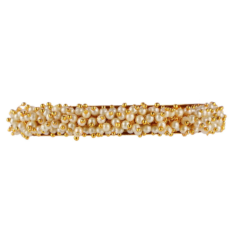 Efulgenz Fashion Jewelry Indian Bollywood 14 K Gold Plated Faux Pearl Bracelets Bangle Set (2 Pieces) for Women by Efulgenz (Image #2)
