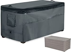 Storage Box Cover,Quick Open Patio Deck Box Top with Zipper and Pockets-Waterproof Oxford Fabric Storage Container Cover for Garden Deck Box(Gray,48x25x25in)