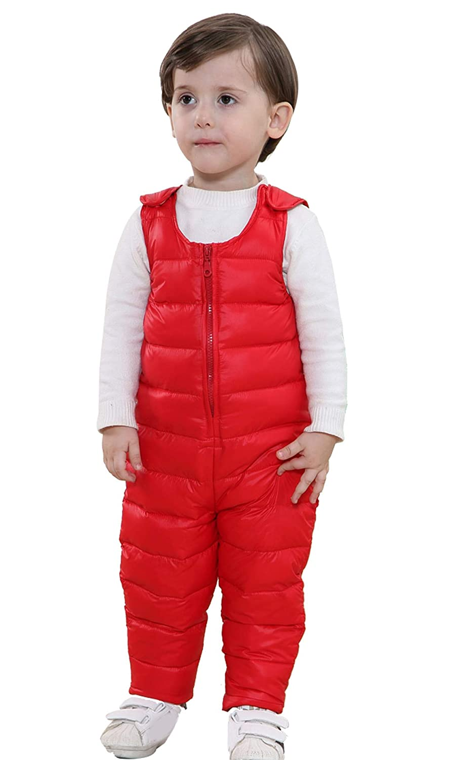 Happy Cherry Toddler Winter Down Snow Pants Thick Overalls Waterproof Snowsuit