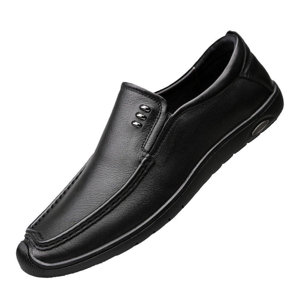 Hombres Negocios Casual De Mediana Edad Moda Transpirable Papá Conducir Zapatos De Cuero 40 EU|Black