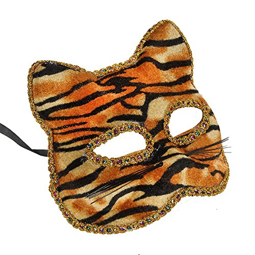 G-JY Halloween mask lace mask venetian mask Venetian mask Christmas Halloween mask cat face painted mask, tiger pattern