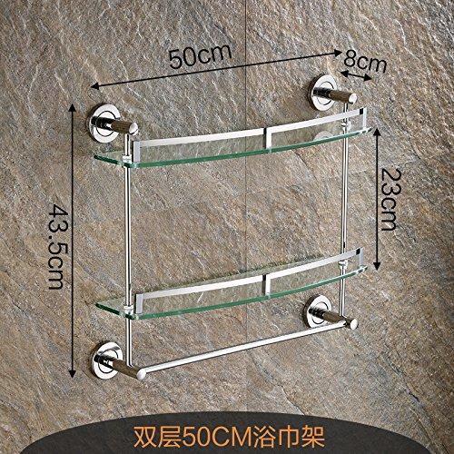 Damjic バスルームバスルームラックバスルームペンダントタオルラック壁掛けの浴室のガラスシェルフ、 50 Cm双 B0711YF7HF 50cm1 50cm1