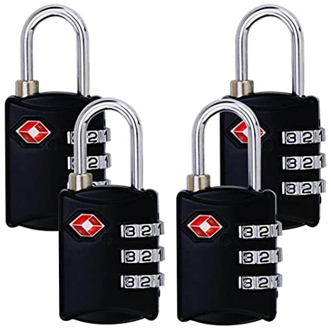 de7fbf185341 TSA Luggage Locks (4 Pack) - 3Digit Combination Steel Padlocks - Approved  Travel Lock for Suitcases & Baggage